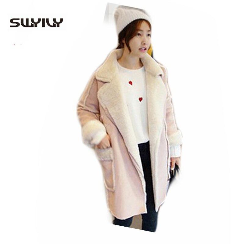 Composite Lamb Fur Lining Suede Jackets ,Woman Winter Long British Fur Coat Plus Size S-2xl Pink Blue Cotton Coat