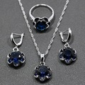 Top Quality Blue Zircon 925 Sterling Silver Jewelry Sets Earrings/Pendant/Necklace/Ring For Women Free Jewelry Box TZ08