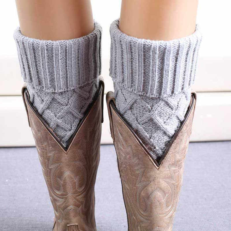 10 Colors Women Knit Boot Cuff Rhombus Grid Knited Leg Warmers Short Boot Socks Polaina Feminina Winter Leg Warmer