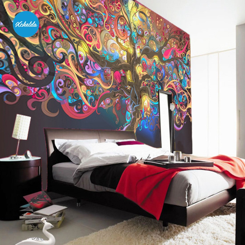 XCHELDA Custom 3D Wallpaper Design Colorful Big Tree Photo Kitchen Bedroom Living Room Wall Murals Papel De Parede Para Quarto kalameng custom 3d wallpaper design street flower photo kitchen bedroom living room wall murals papel de parede para quarto