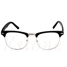 a353be169b Fashion Metal Half Frame Glasses Frame Retro Woman Men Reading Glass UV  Protection Clear Lens Computer