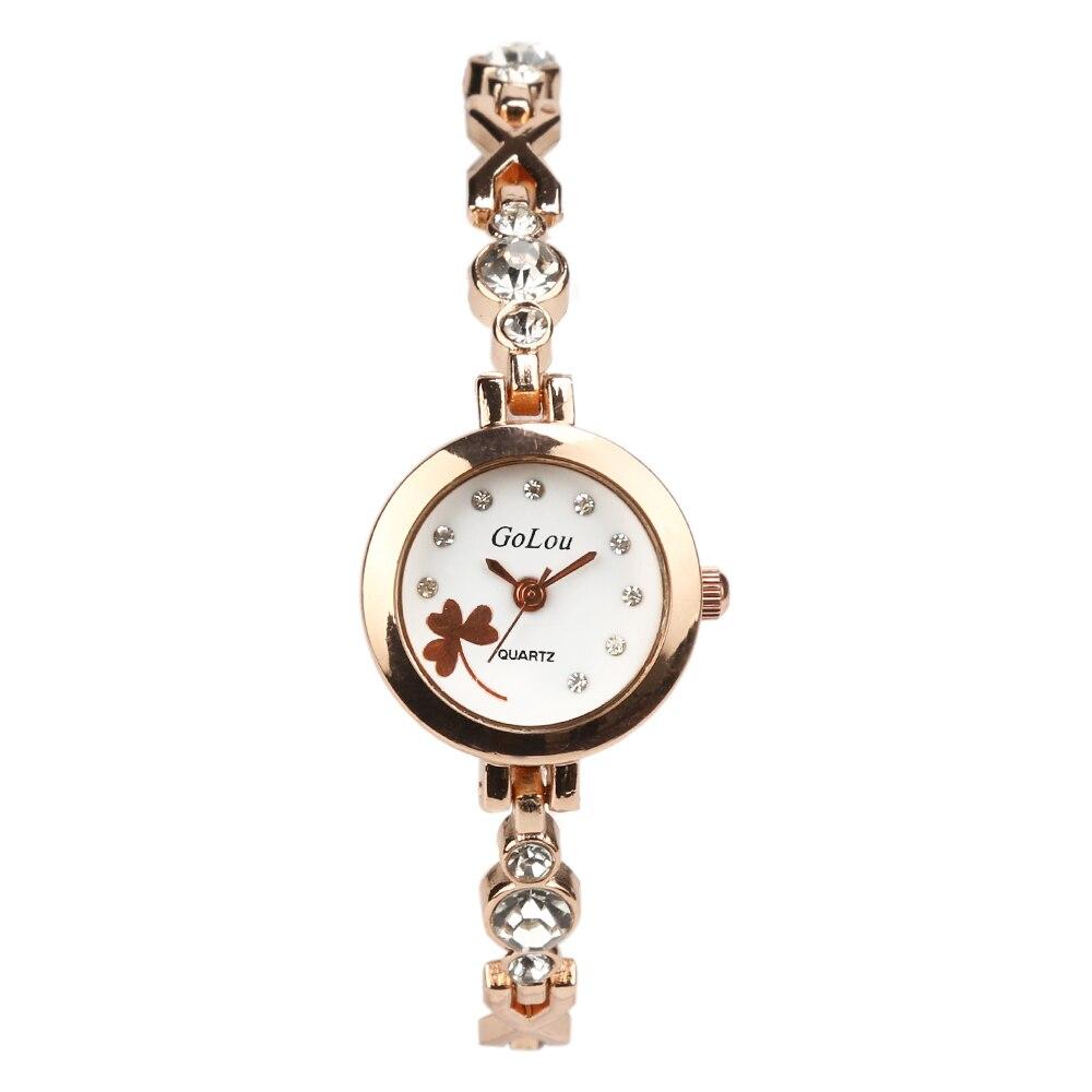 cce65040f72 Vendas quentes subiu Trevo de ouro dial assista Mulheres Senhoras vestido  de cristal de Quartzo Relógios