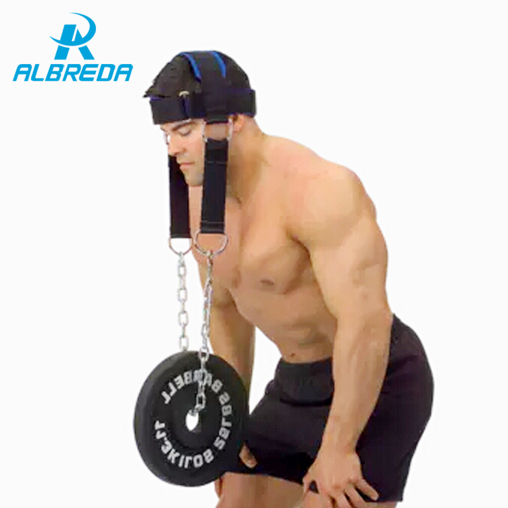 ALBREDA Cowhide head and neck trainers weight bearing cap The shoulder muscle Weight Training Can bring WEight plate ...