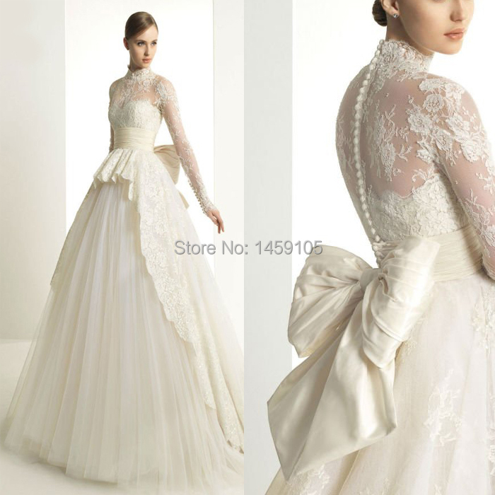 2015 Ball Gown Wedding Dresses Vintage Plus Size Conservative Puffy ...