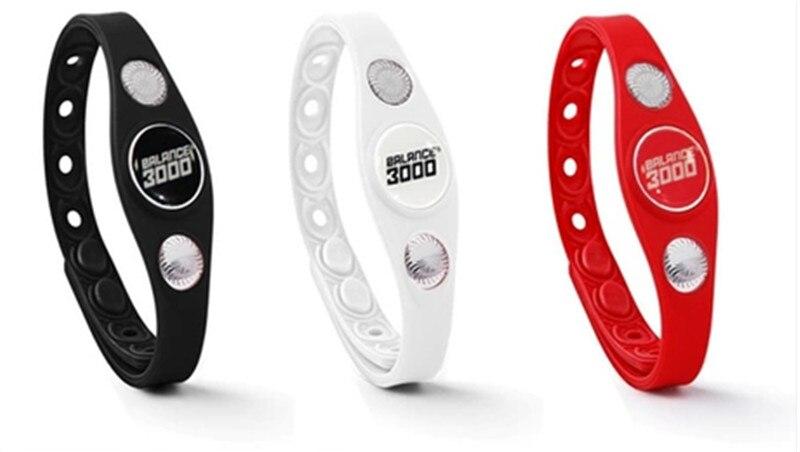 12pcs top quality fashion jewelry energy silicone wristband 3000 PHOTON balance quantum bangle negative ion bracelet