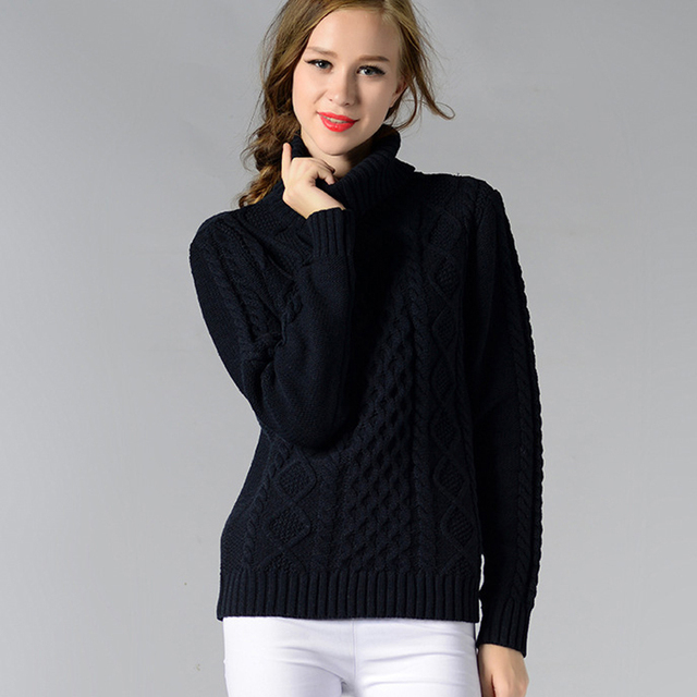 female winter autumn pullover turtleneck knitted full sleeve warm loose sweater #fashion #winter #autumn 1