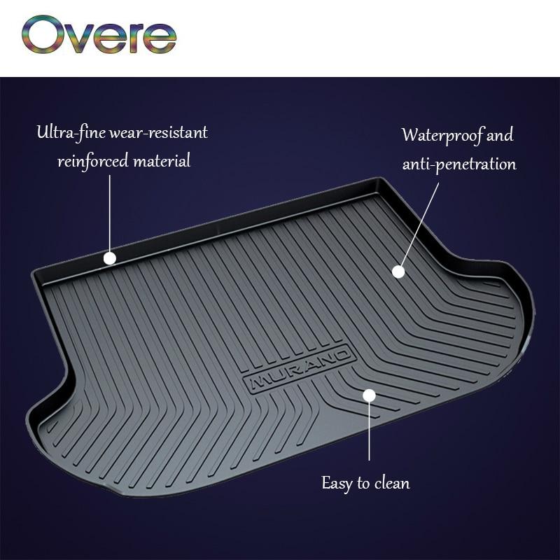 Overe 1Set Car Cargo rear trunk mat For Nissan Kicks Livina Murano March K13 Sunny N17 Boot Liner Tray Anti-slip mat Accessories цена и фото
