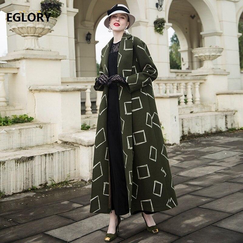 Femmes Vêtements Qualité Vintage De D'hiver Manteau Armée 2018 Imprimé Marque Haute Manteaux Mélanges Et Géométrique Vert Long Laine EUfq8Aqwx