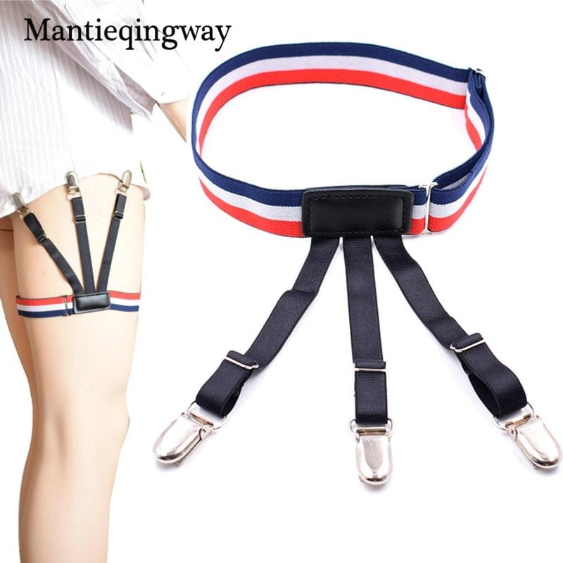 Mantieqingway Fashion Male Stay Shirts Suspenders Holder For Mens Striped Garters Suspensorio Adjustable Skinny Straps Belt