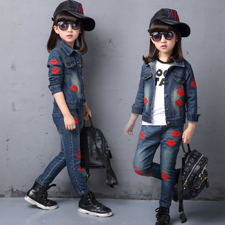 ФОТО 2016 Summer New Model Ultra-stylish Children Clothing Girls Cowboy Sports Suit Denim Jacket Jeans Fashion Casual Kids Clothes