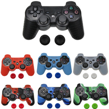 For Sony PS2/3 Controller Gamepad camo Silicone Rubber Skin Case Protective Cover with 2 thumbsticks Grips Cap цена