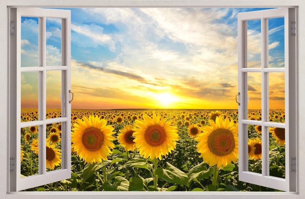 1 Pcs Window View Wall Decal Art Decor Sunflower Field PVC Home Beach  Sticker 3D 4384 Part 95