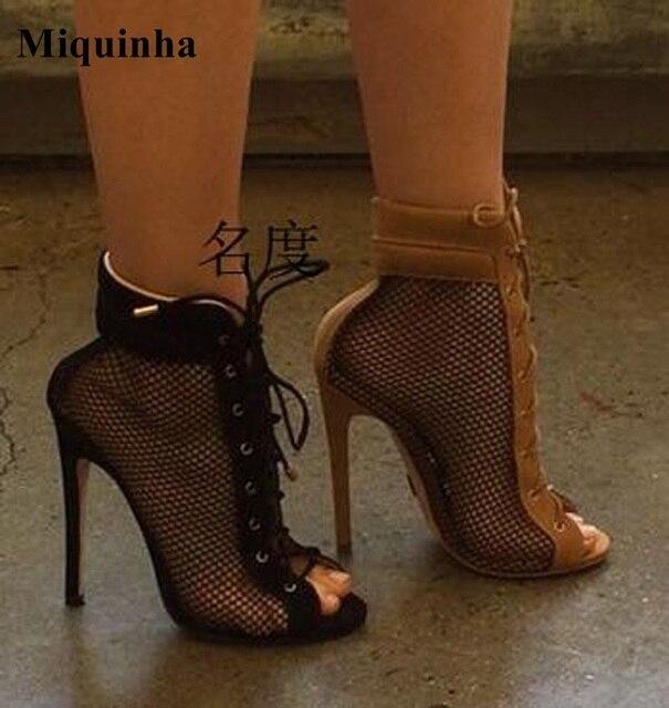 Chaussures Formelles Brun Avec Des Lacets Womens Bout Ouvert lFFp2Ve