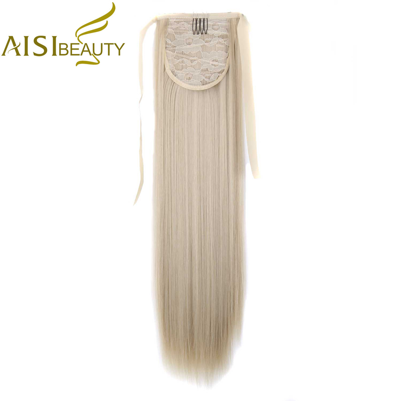AISI BEAUTY Silky Straight Synthetic Clip i Drawstring Ponytail Hairpieces för Women Hair Extension High Temperature Fiber