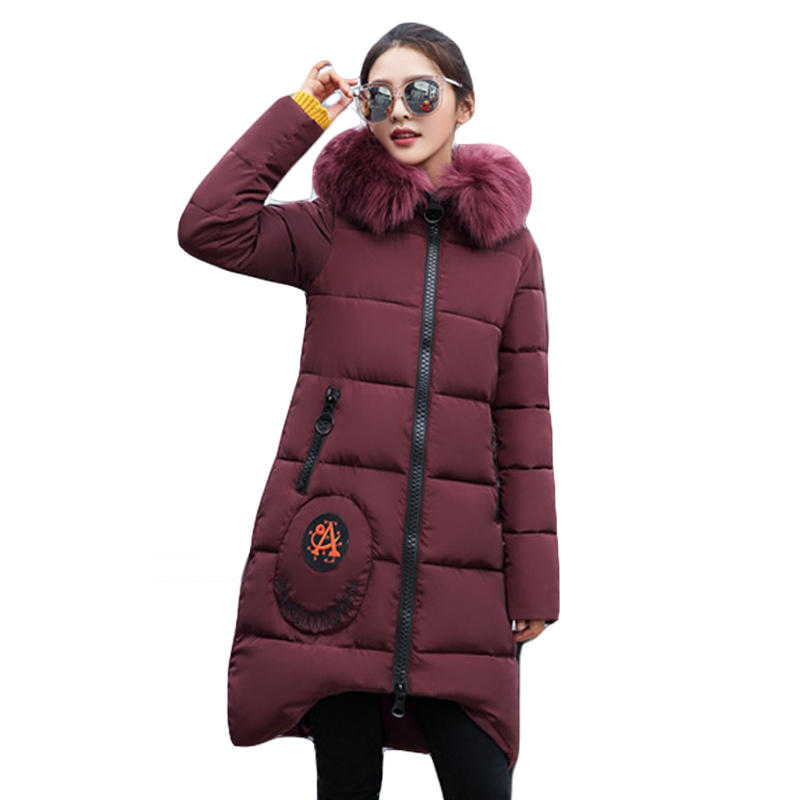 High Quality Large Fur Collar Hooded Women Winter Jacket Snow Wear Female Long Slim Winter Cotton-padded Wadded Coats CM1473 high quality thickening warm parka hooded women winter jacket snow wear female long slim winter cotton padded wadded coat cm1490