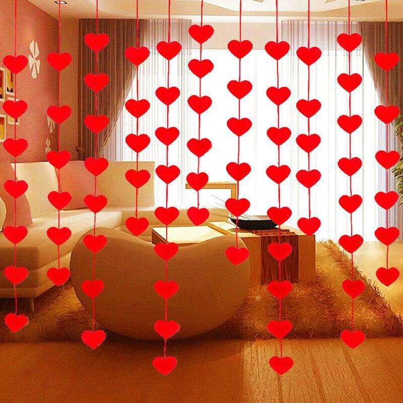 Top Sale DIY 16 Hearts String Curtain Non-Woven Fabric Line Door Cortinas Wedding Party Window Living Room Valance Decor 6A1007