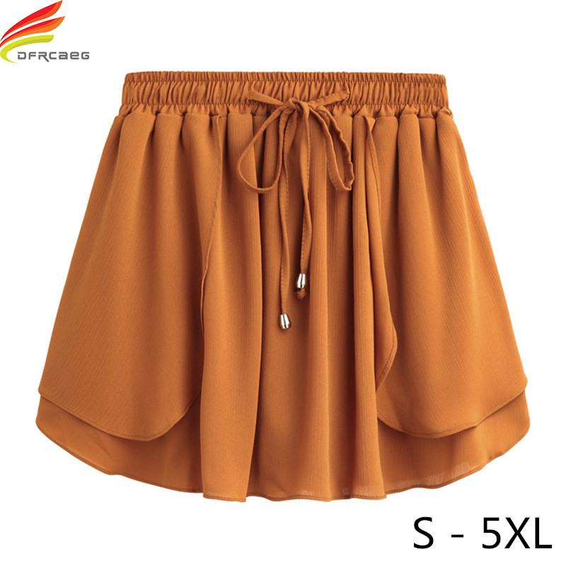 Summer 2018 Women   Shorts   Skirts Plus Size S - 5XL Women's Mini Chiffon   Shorts   High Elastic Waist Slim A Line   Short   feminino