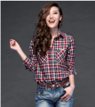 hot sell New spring fashion women elegant plaid shirts lapel long sleeve super quality slim loose shirts S M L D-0322