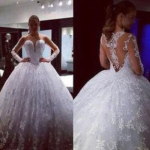 Lace Vestido De Noiva Muslim Wedding Dress Illusion Ball Gown Long Sleeves Applique Boho Dubai Arabic Wedding Gown Bridal Dress