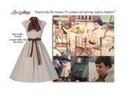 מלחמה ושלום שחקן אודרי הפבורן נקודות הכותנה פולקה דוט בנות סתיו החורף vintage רוקבילי 50 s 60 s שמלות נשים פורמליות