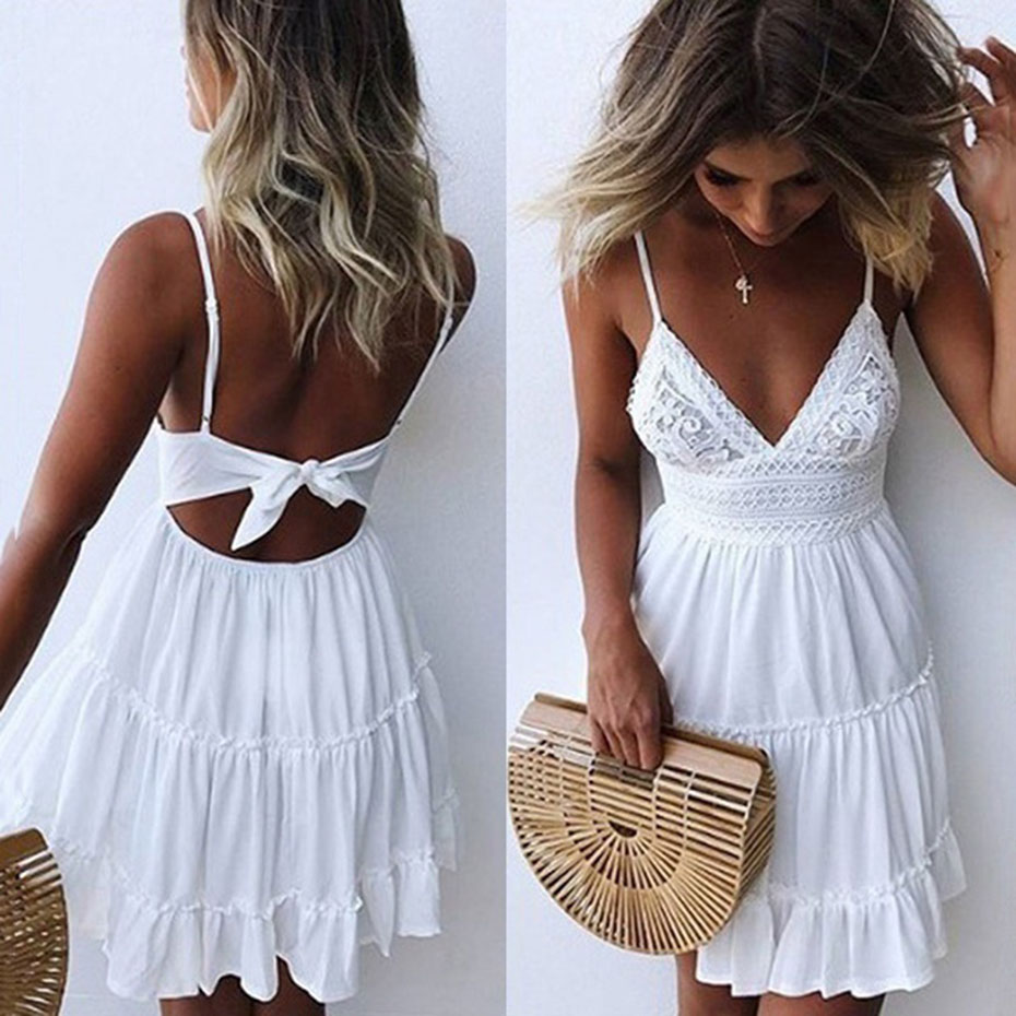 <font><b>2018</b></font> <font><b>New</b></font> <font><b>Fashion</b></font> Summer <font><b>Dress</b></font> <font><b>Women</b></font> Sweet <font><b>Sexy</b></font> Sleeveless <font><b>Dress</b></font> V Neck <font><b>Backless</b></font> Lace Stitching Beach <font><b>White</b></font> <font><b>Dress</b></font> image