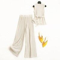 Korean Summer Fashion Knitted Two Piece Set 2018 Sleeveless Crop Top + High Waist Wide Leg Pants Set OL 2 Piece Set Women