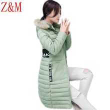 winter women s Parka thick Printed letters hooded jacket female Splice Long section Large size coat