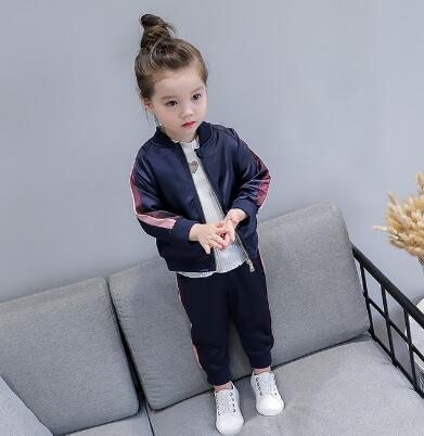 Image 5 - 2 8 Year Baby Girls Sport Suits 2019 Spring Children Long Sleeve Zipper Coat+ Pant Casual Girls Clothing Set Kids Tracksuit-in Clothing Sets from Mother & Kids