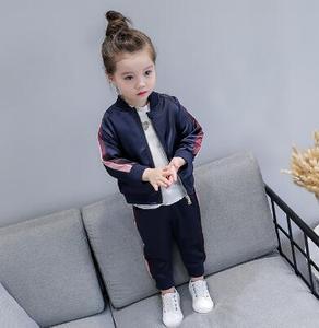 Image 5 - 2 8 lat dziewczynek dresy sportowe 2020 wiosna dzieci z długim rękawem płaszcz z suwakiem + spodnie Casual Girls odzież zestaw dzieci dres