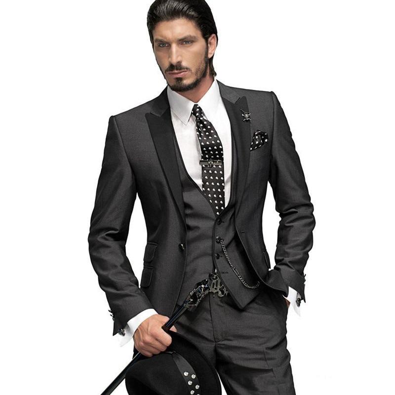Customize One Button Charcoal Grey Groom Tuxedos Peak Lapel Best Man Groomsmen Men Wedding Suits Bridegroom (Jacket+Pants+Vest)