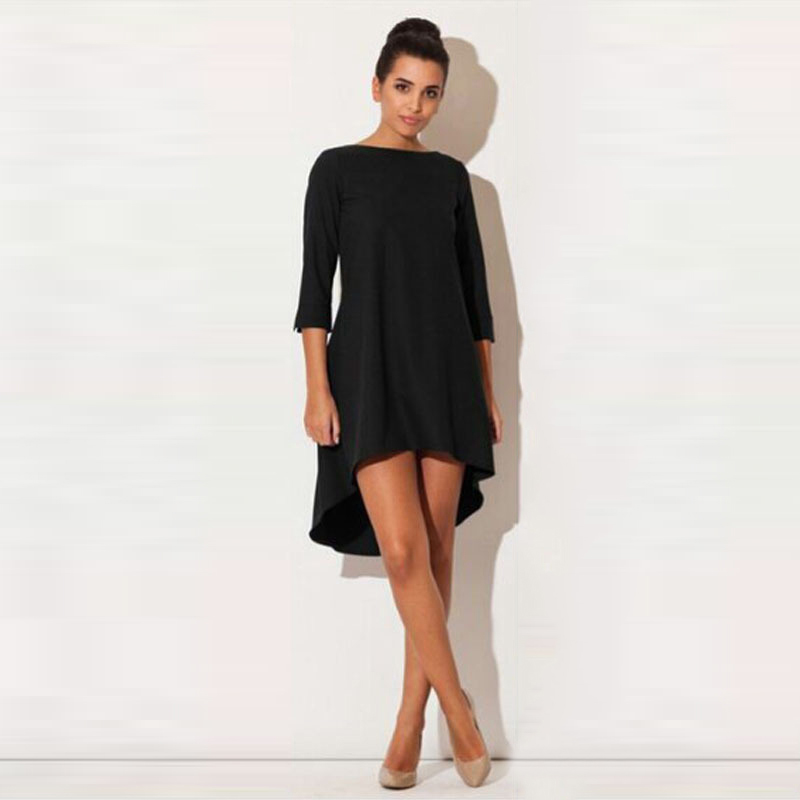 Fashion Women Dresses 2017 Sexy Loose Mini Irregular O-Neck Dress Summer Casual Elegant Dresses Plus Size LJ8789X 4