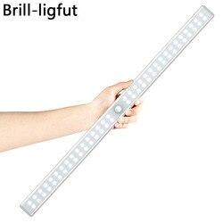 20/36/64 светодиодный s USB Перезаряжаемые светодиодная подсветка под шкаф движения PIR Сенсор шкаф ночной Светильник для шкаф Кухня