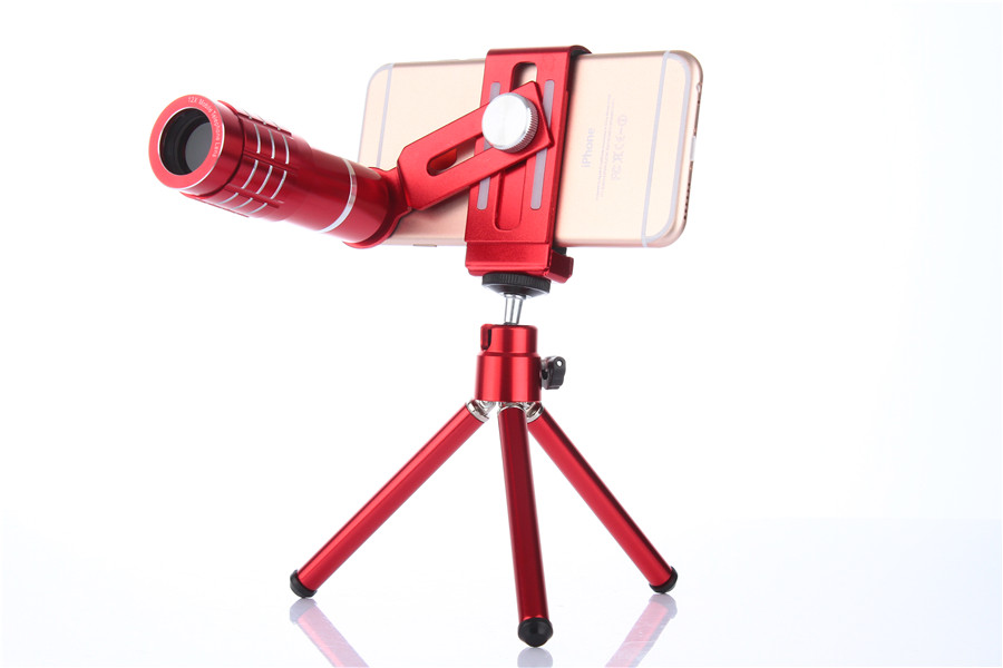 Fashion Red Camera Self Lens Kit:12x Optical Zoom Universal Smartphone Telescope Lens+Photo Tripod For Galaxy S8 S7 PLUS/P10 G9 universal 30x optical zoom telescope camera lens clip mobile phone telescope for iphone7 for samsung for vivo for huawei xiaomi