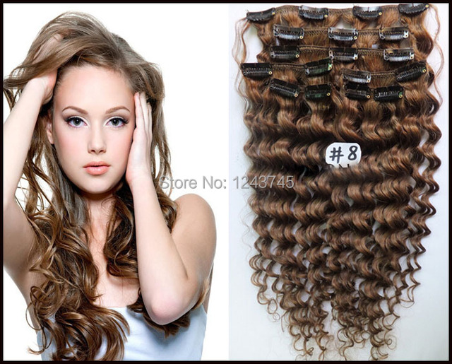 Wholesale 6a Brazilian Virgin Hair 7pcsset Brazilian Curly Clip In
