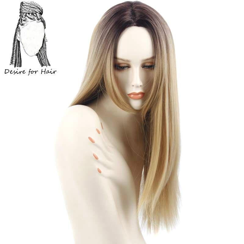 Desire для волос 1 шт. 26 дюймов Длинные Ombre 27 # блондинка цвет шелковистые прямые номера кружева термостойкие химическое парики для женщин