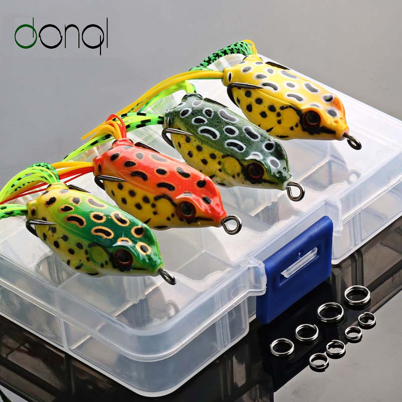 DONQL 4pcs/box Frog Fishing Lures Kit Snakehead Lure Topwater Floating Ray Frog Artificial Bait Pesca Isca Killer Winter Fishing