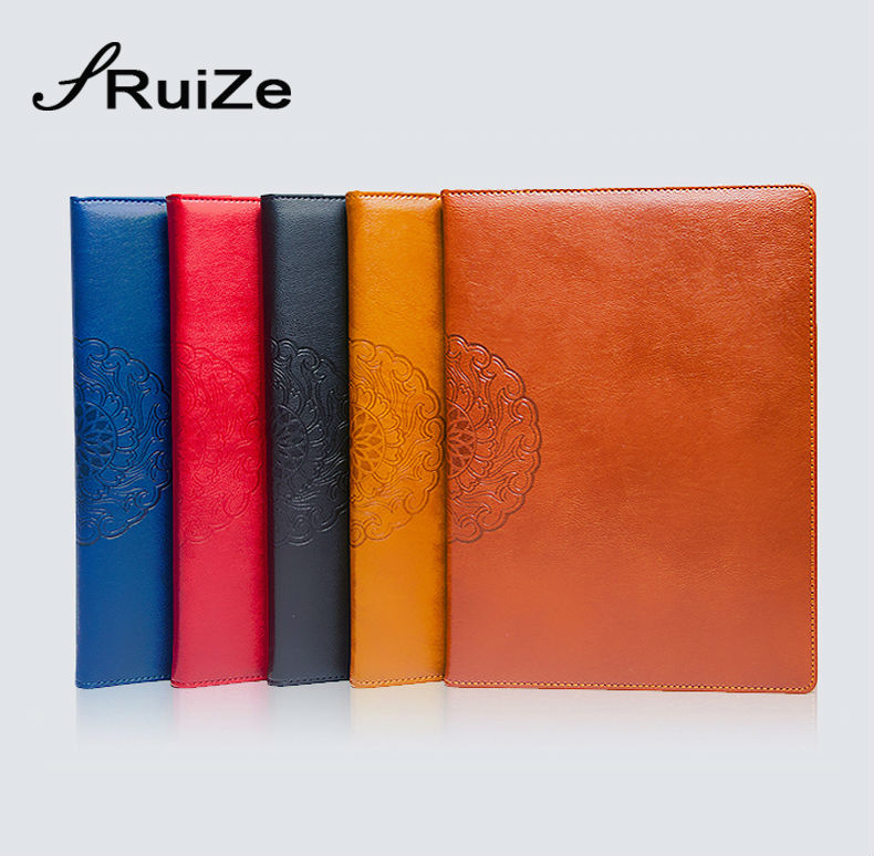 RuiZe hard cover PU leather notebook A4 Big notebook agenda creative printed vintage note book office supplies stationery