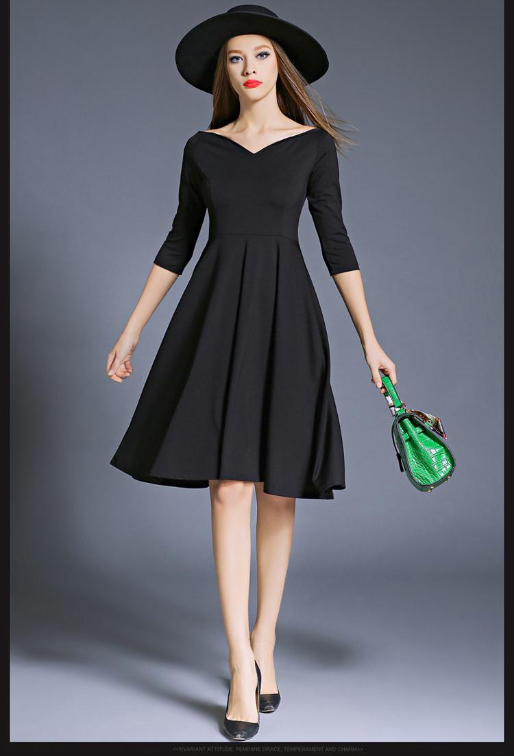 Hepburn Elegant Women Party Dresses Vestidos Mujer 2017 Kleider Damen Autumn Dashiki Little Black Dress Dames Jurken K8849 2