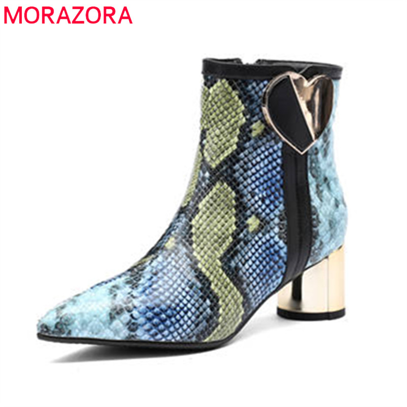 MORAZORA 2018 top quality genuine leather boots women pointed toe autumn winter boots heels zip dress shoes ankle boots female morazora 2018 top quality genuine leather boots round toe short plush autumn winter ankle boots for women zip square heel shoes