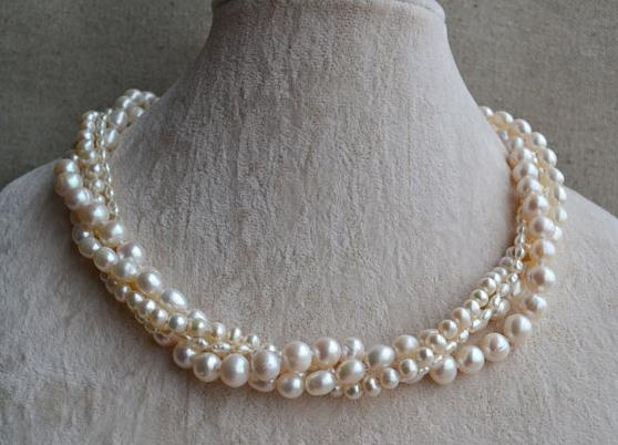 Natural Pearl Necklace,Four Strands Pearl Jewelry,18 inches 3-9mm White Freshwater Pearl Necklace,Wedding Party Woman Gift natural pearl necklace four strands pearl jewelry 18 inches 3 9mm white freshwater pearl necklace wedding party woman gift