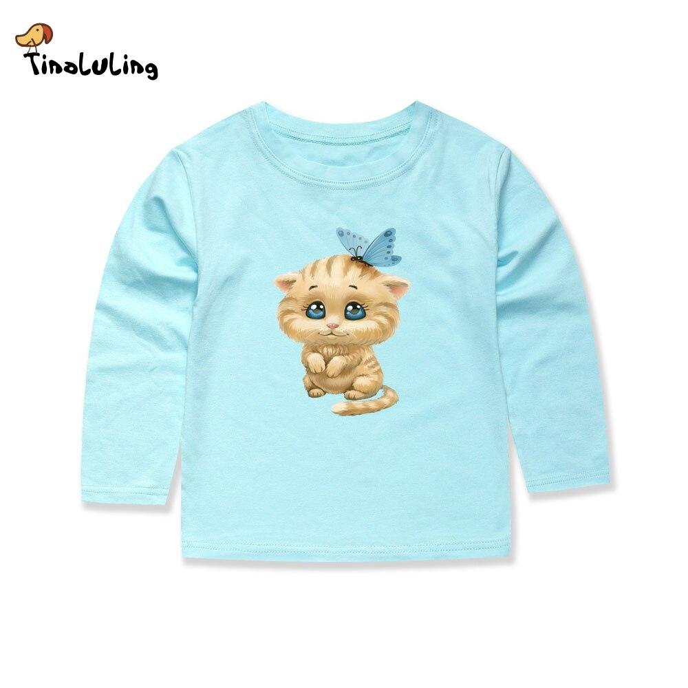 TINOLULING 2018 Full Sleeve Baby Girls Cat T Shirts Children Hello Kitty Lovely T shirt Girls Summer Tops Tees for Boys 1
