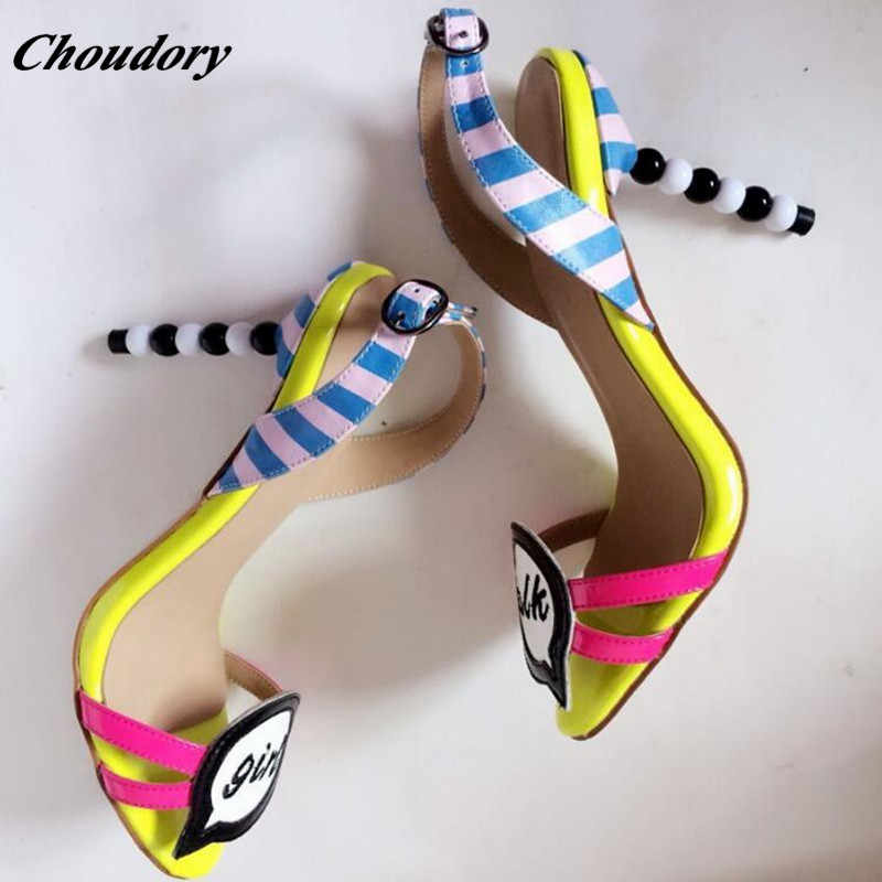 Choudory Sweet High Heel Designer Shoes Women Luxury 2017 Fashion Mixed  Color Ladies Sandals Gladiator Sandals 562319a5cd55