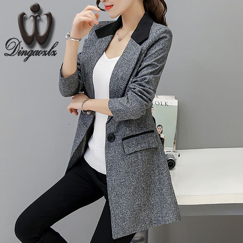 Small suit Jacket female 2017 Spring autumn Slim long style Women blazers Casual fashion Plus size Coat outerwear