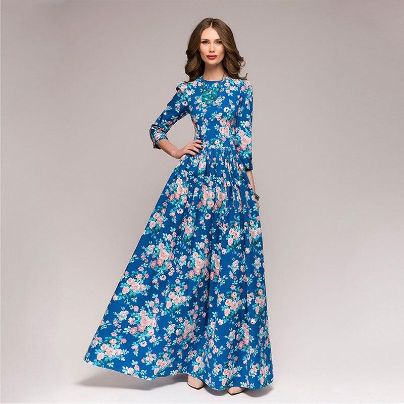 Women Printing Long Dress 2018 New Three Quater Sleeve Pleated Autumn Winter for Female Elegant Bohemian Dresses