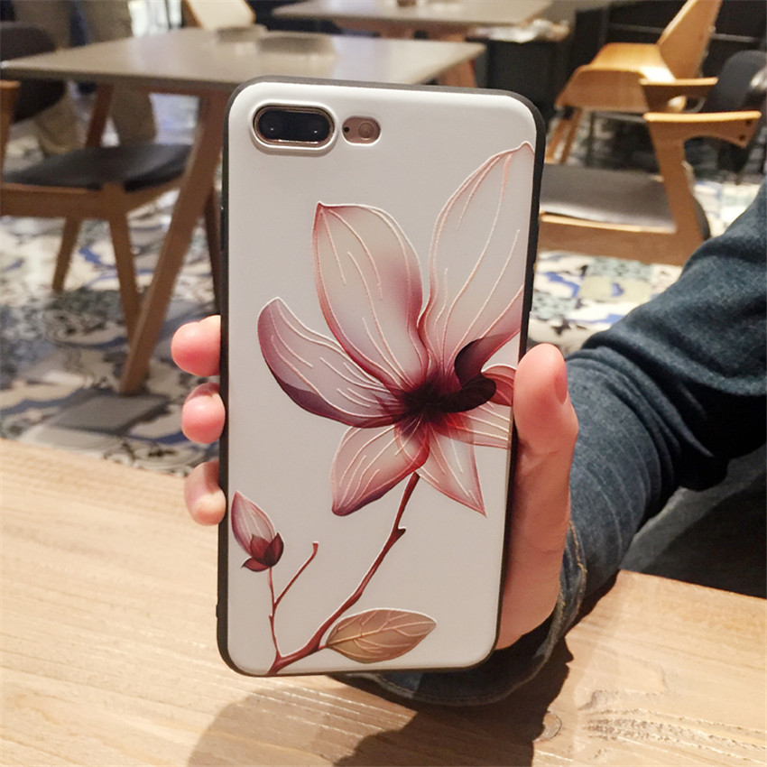 Galleria fotografica 3D Relief Flower Case For iphone 6 6s 7 8 plus Back Cover For iphone X Sexy Girly Soft Silicon TPU Cover Fundas Coque case