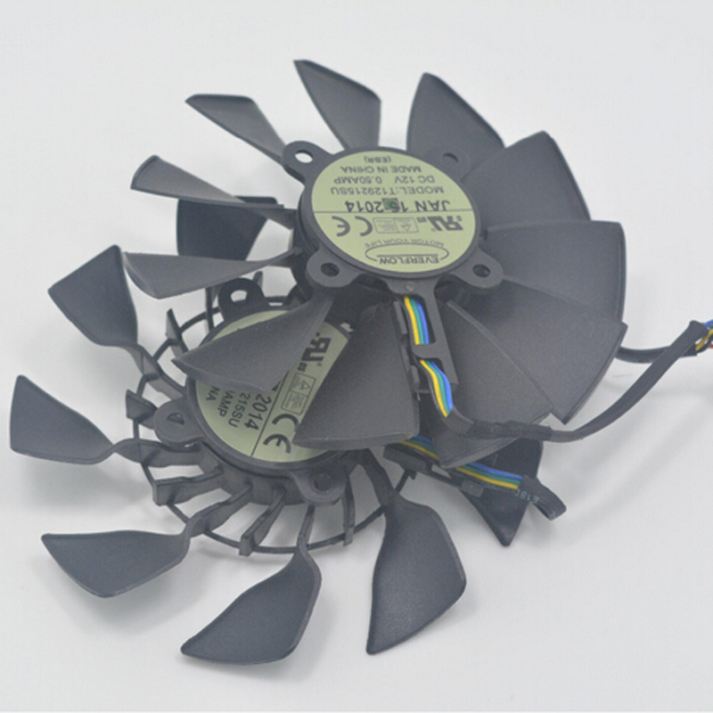 New 1 Pair T129215SU DC 12V 0.50AMP Graphics Cooler Fan For ASUS R9 290 DIRECTCU II OC Video Card 2pcs lot everflow t129215su dc 12v 0 5a 5pin gpu vga cooler fan for r9 390 r9 390x graphics card