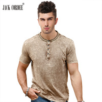 JACK CORDEE Vintage T Shirt Men O Neck Short Sleeve Slim Fit Tshirt Men Solid Casual