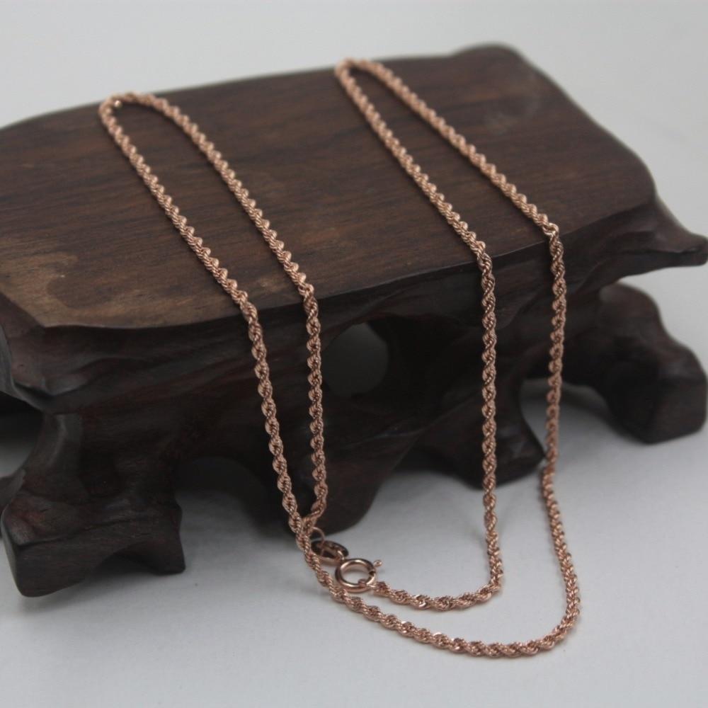 Takı ve Aksesuarları'ten Kolyeler'de Yeni Au750 Gerçek 18 K Gül Altın Zincir Kadın Halat Bağlantı Kolye 17 inç'da  Grup 1