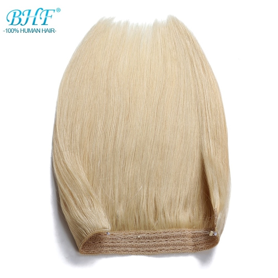 BHF 110g Straight Machine Made Remy Halo Hair Flip in Human Hair Extensions One piece Set