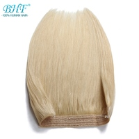 BHF 110g Straight Machine Made Remy Halo Hair Flip in Human Hair Extensions One piece Set Non clip Fish Line Hair
